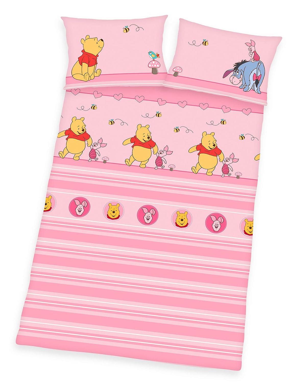 Kinderbettw/äsche Renforc/é rosa 40x60 Winnie the Pooh Babybettw/äsche 100x135 Baumwolle 24220 58.063 521