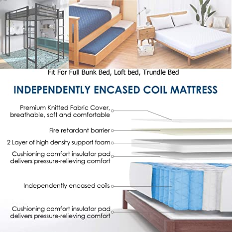 Amazon.com: HIFORT Full Size Mattress 8 Inch Medium Firm Pocket Coil Spring Tight Top Bamboo Fabric 108-night Trial 10-Year Warranty 54x75 Inch, Colchones ...