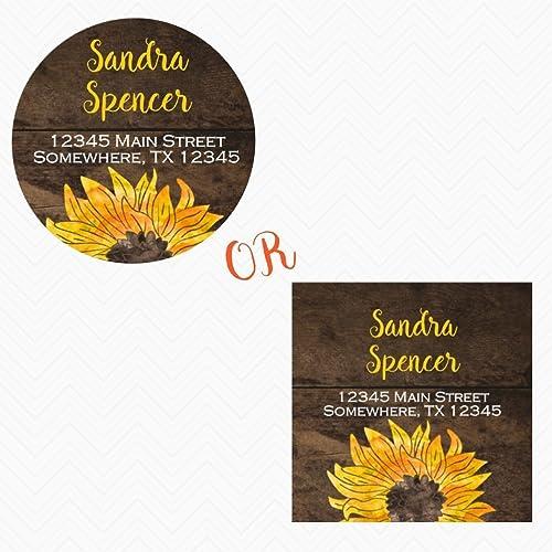 amazon com 2 circle or square watercolor sunflower return address