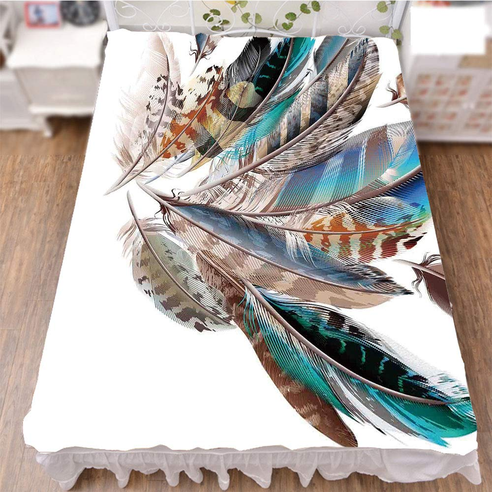 iPrint Bedding Bed Ruffle Skirt 3D Print,Natal Contour Flight Feathers Animal Skin,Fashion Personality Customization adds Color to Your Bedroom. by 94.5''x102.3''