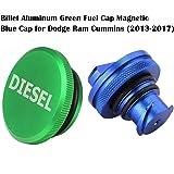 2013-2017 Dodge Ram Diesel Magnetic Billet Aluminum Fuel Cap and Blue Cap Combo