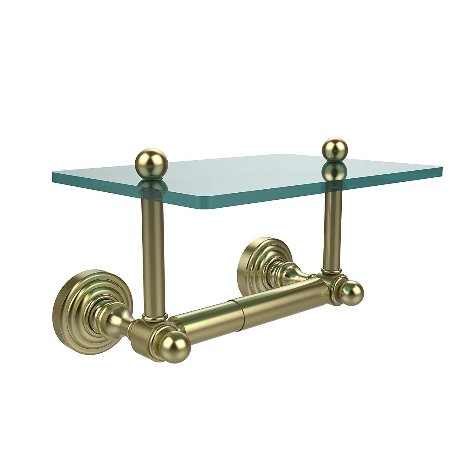 Satin Brass Allied Brass WP-GLT-24-ORB Waverly Place Collection Two Post Toilet Tissue Holder with Glass Shelf Oil Rubbed Bronze