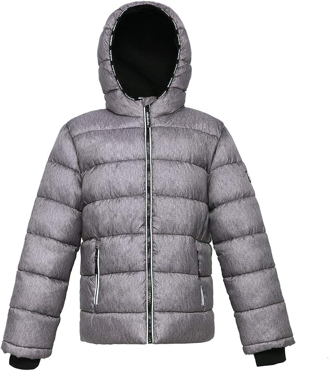 Rokka&Rolla Boys' Heavyweight Water-Resistant Fleece Lined Puffer Jacket Bubble Coat: Clothing