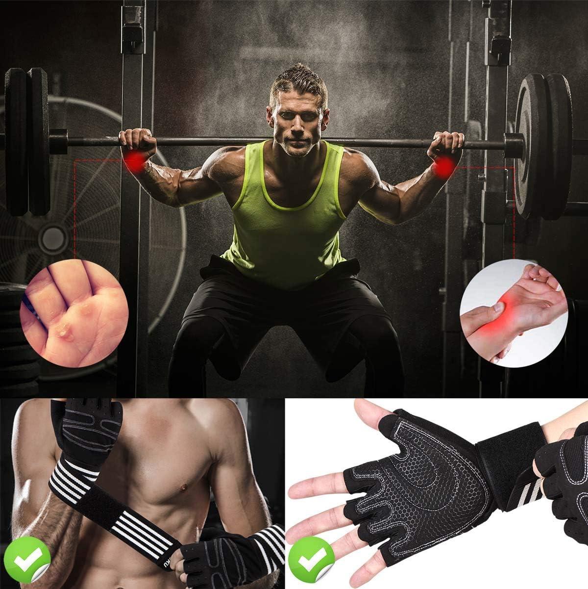 Guantes Gimnasio Hombre Mujer, Gym Guantes Musculation Transpirable con Protección Completa de Muñeca y Palma, Antideslizante Guantes Crossfit para ...