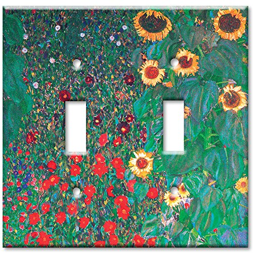 Double Gang Toggle Wall Plate - Klimt: Sunflowers ()