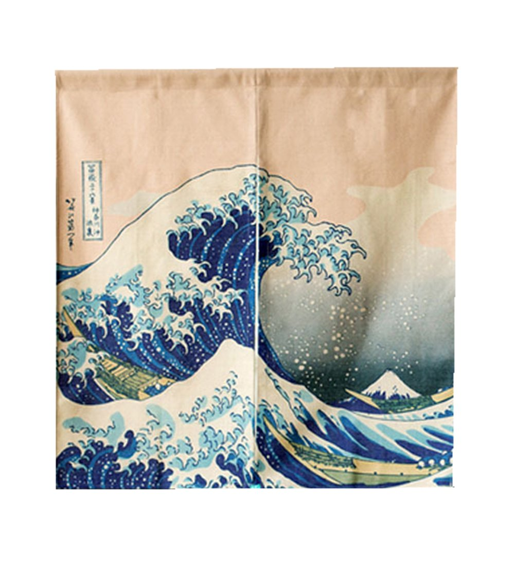 LIGICKY Japanese Noren Doorway Curtain Ukiyoe Hokusai The Great Wave off Kanagawa Tapestry for Home Decoration 85×90cm HM78009