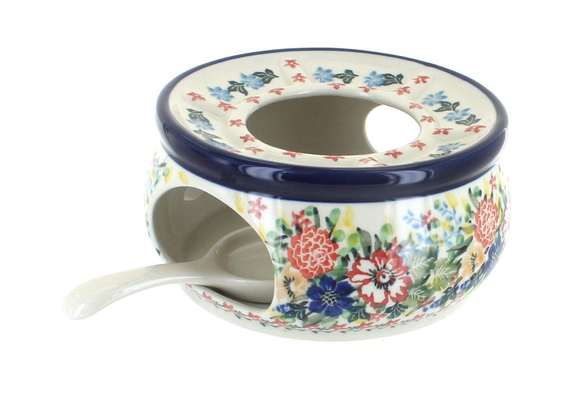 Blue Rose Polish Pottery Hummingbird Teapot Warmer