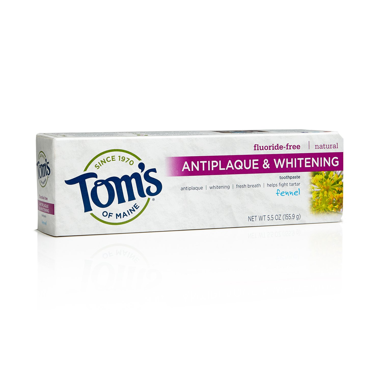 Tom's of Maine Natural Fluoride-Free Antiplaque & Whitening Toothpaste, Fennel 5.50 oz (Pack of 24)