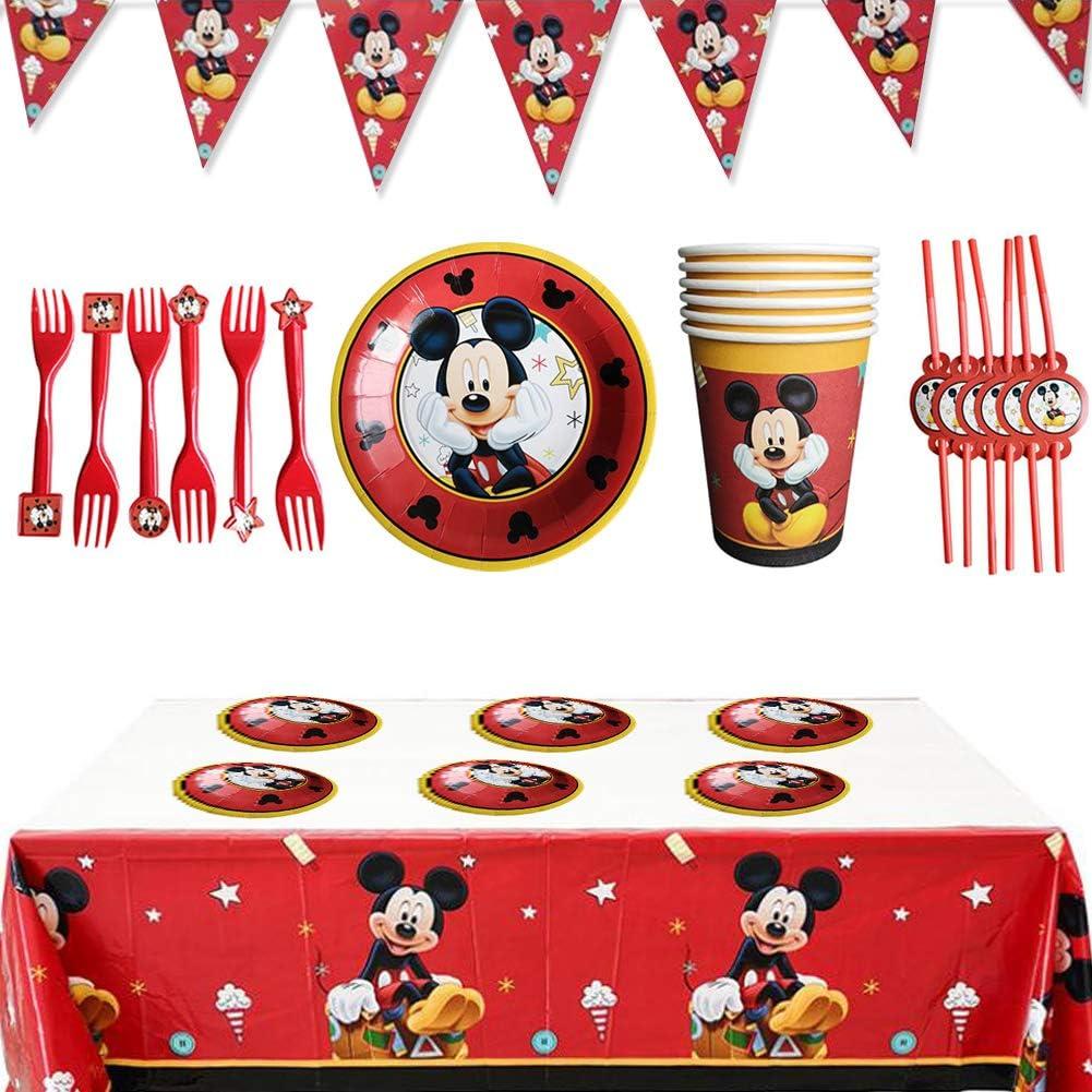 WENTS Set de Fiesta de cumpleaños de Mickey 26PCS Disney Mickey Mouse Party Decoration Set Platos Tazas Servilletas Pack de Fiesta reciclable Mickey Mantel Sirve para 6 Invitados