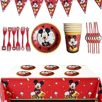 Wents Set Festa Di Compleanno Di Topolino 26pcs Kit Party Festa In Tavola Mickey Mouse Club House Disney Mickey Mouse Accessori Per Feste Per Bambini Per 6 Persone Amazon It Giochi E Giocattoli