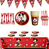 WENTS Set de Fiesta de cumpleaños de Mickey 26PCS Disney Mickey Mouse Party Decoration Set Platos Tazas Servilletas Pack de Fiesta reciclable Mickey Mantel Sirve para 6 Invitados