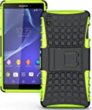 Heartly Flip Kick Stand Spider Hard Dual Rugged Armor Hybrid Bumper Back Case Cover For Sony Xperia Z4 - Great Green