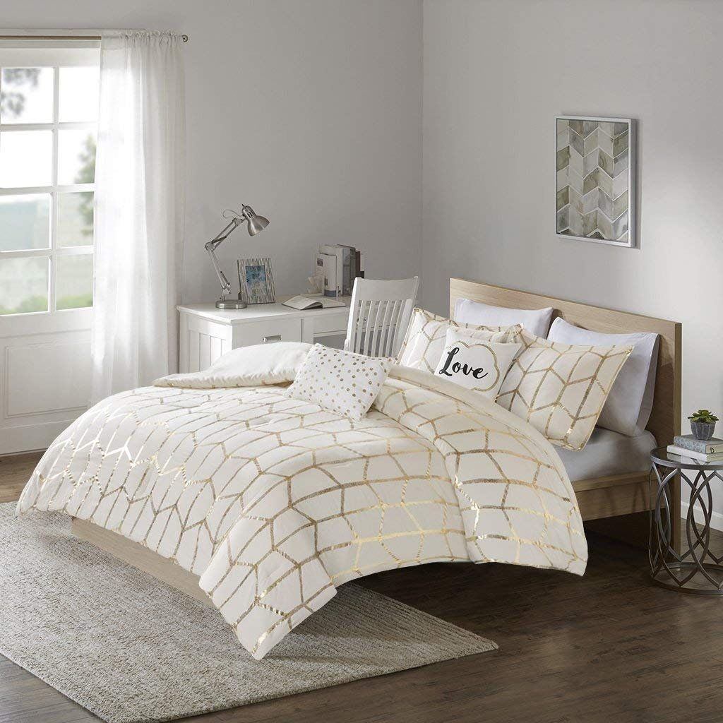 Intelligent Design Raina Comforter Set King/Cal King Size - Grey Silver, Geometric – 5 Piece Bed Sets