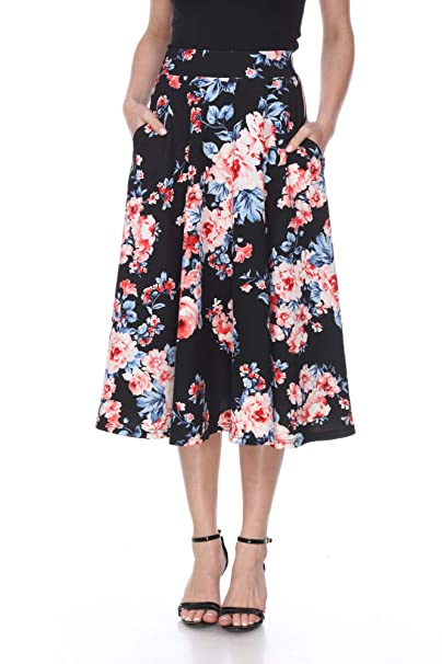 cozy fresh quality and quantity assured search for best White Mark Women's Floral Midi Skirt at Amazon Women's ...