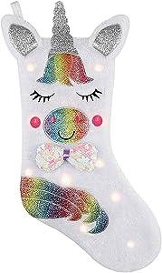 Lemcool Unicorn Christmas Stocking with LED Light 17
