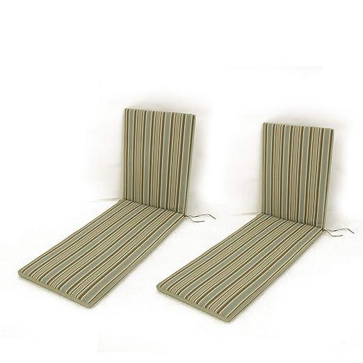 Edenjardi Pack 2 Cojines para Tumbona de jardín Color Lux Estampado a Rayas | Tamaño 196x60x5 cm | Repelente al Agua | Desenfundable | Portes Gratis