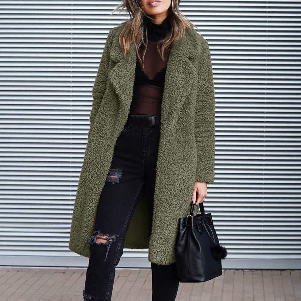 MRULIC Winter Popular Women Teddy Fleece Soft Warm Long Sleeve Pullover Blouse Open Front Jacket Coat Long Outerwear