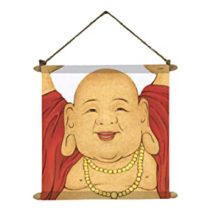 YaYa Cafe Good Luck Laughing Buddha for Wealth Poster Wall Painting Hanging Scroll Canvas - 18 x 18 inches