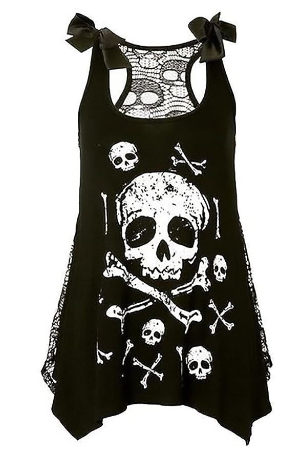 86d4f8e3e09 Chuanqi Womens Plus Size Tops Skull Print Tank Top Sleeveless Lace T Shirt  at Amazon Women s Clothing store