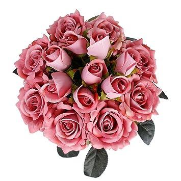Amazon 8 bouquets real touch velvet open rose artificial flower 8 bouquets real touch velvet open rose artificial flower fake rose bloom 314quot x tall mightylinksfo