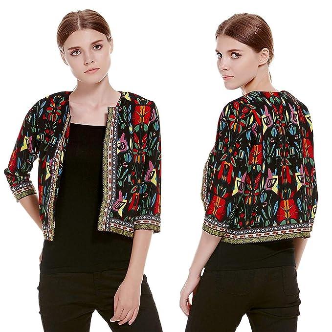 Mujer Chaquetas Otoño Elegante Moda Corto Abrigos Estampadas Patrón Mangas 3/4 Cuello Redondo Lindo