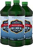 Piping Rock Engelvaer Norwegian Cod Liver Oil 3 Bottles x 16 fl oz (473 mL) with EPA / DHA Dietary Supplement