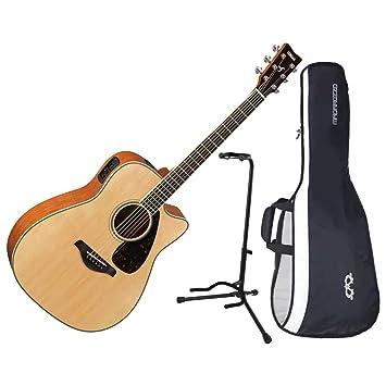 Yamaha fgx820 C Natural Cutaway Folk parte superior sólida acústica guitarra eléctrica w/funda y soporte: Amazon.es: Instrumentos musicales