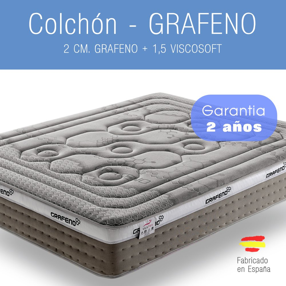 MKM - COLCHON - VISCOELASTICO - GRAFENO - 200 x 150 - Garantía 2 años.: Amazon.es: Hogar