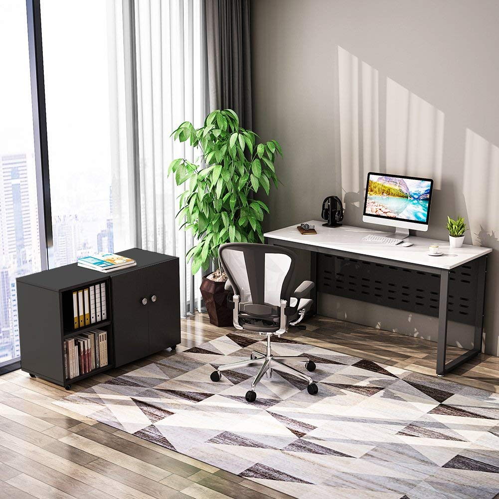 Tribesigns 55 inch Computer Desk,L-Shaped Desk with Cabinet Storage, Office Writing Desk with Bookcase &Printer Stand for Home Office by Tribesigns (Image #6)