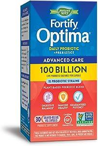 Nature's Way Fortify Optima Daily Probiotic, 100 Billion, 15 Strains, Prebiotic, 30 Capsules