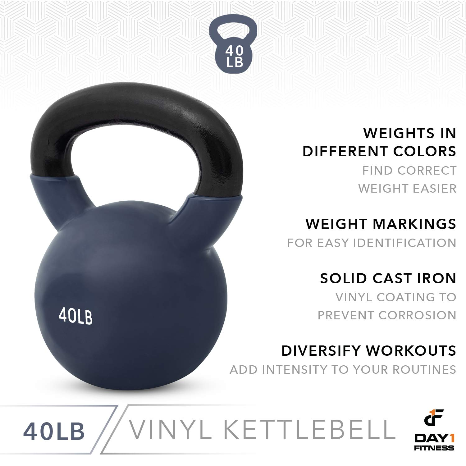 Day 1 Fitness Kettlebell Weights Vinyl Coated Iron 40 Pounds - Coated for Floor and Equipment Protection, Noise Reduction - Free Weights for Ballistic, Core, Weight Training by Day 1 Fitness (Image #5)