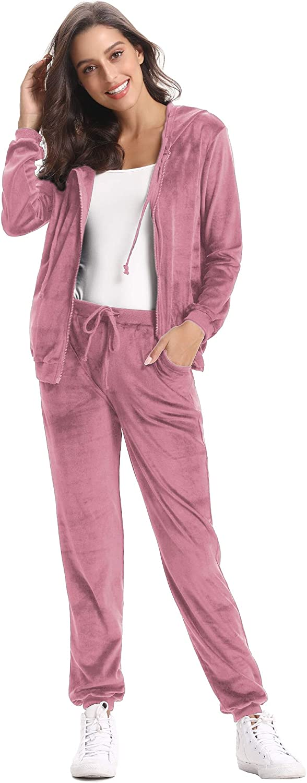 Pantaloni Lunghi in Velluto Tuta da Ginnastica Abbigliamento per Stare alla Casa Abollria Donna Tuta Sportiva e Pigiama Set Completi Sportivi Due Pezzi Giacca con Chiusura Lampo