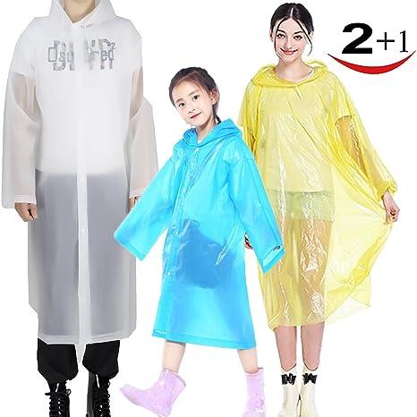 e6cc3f8bc6d Amazon.com  Suzzam 3 Pack Rain Poncho for Adults Kids