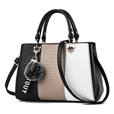 ec322d9fd3 Coolives Women s handbags leather purse design elegant fashion handle bag  colorblock shoulder bags medium