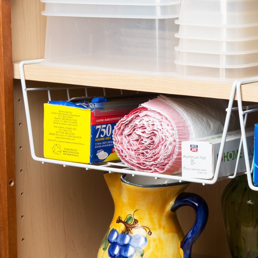 Amazon.com   Evelots Under Shelf Basket Wire Rack, White, Slides Under  Shelves For Storage, 2