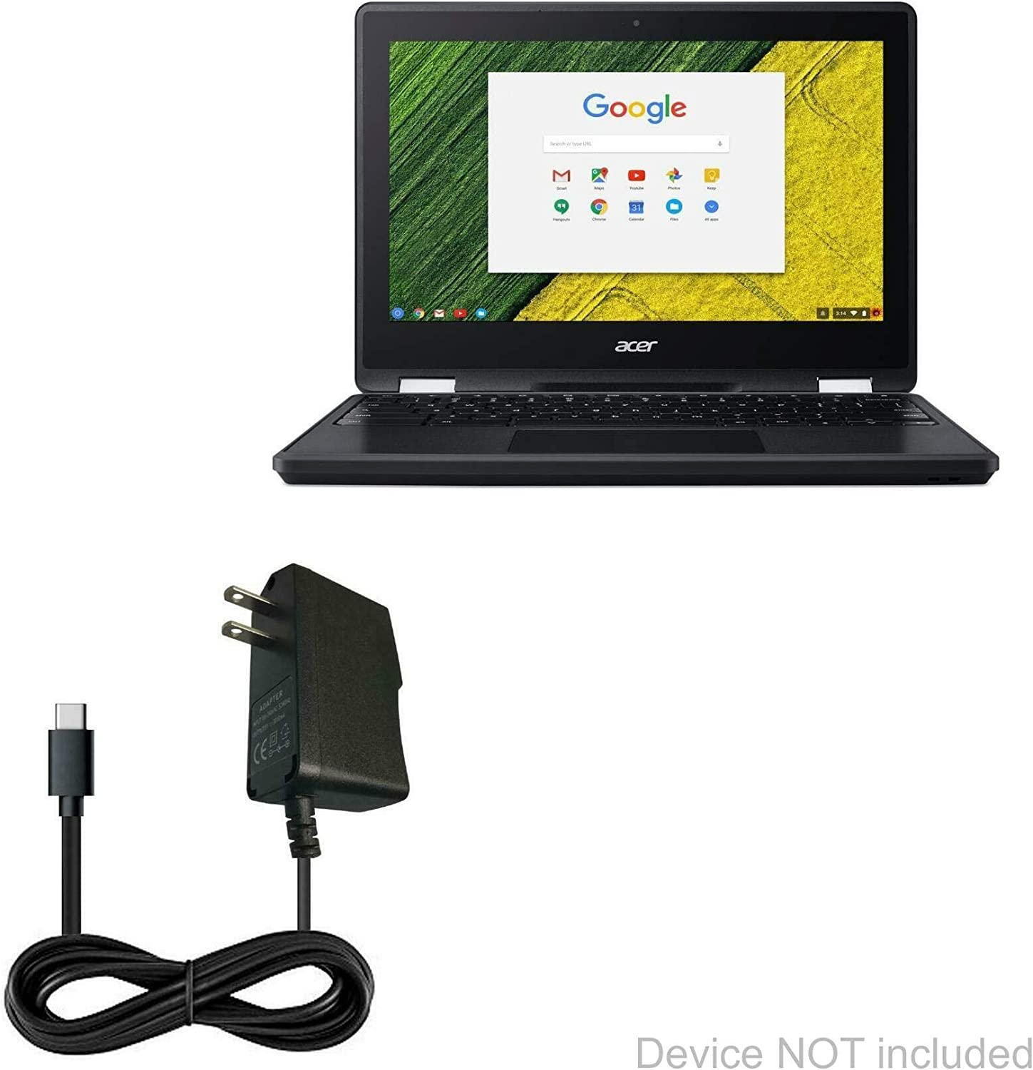 Acer Chromebook Spin 11 (R751T) Charger, BoxWave [Wall Charger Direct] Wall Plug Charger for Acer Chromebook Spin 11 (R751T)