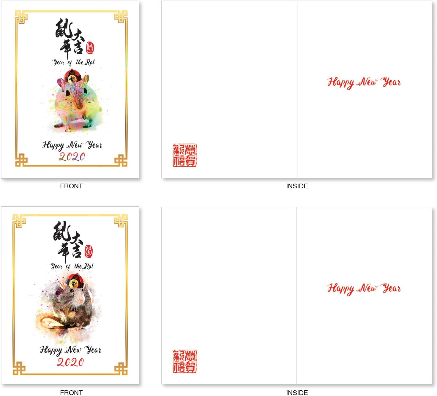 Chinese Year of the Pig Happy New Year Note Cards Set of 20 Cherry Blossoms Inside 3
