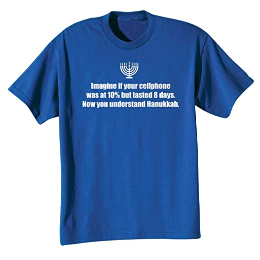 c32f102f Amazon.com: WHAT ON EARTH Unisex The Miracle of Hanukkah T-Shirt Top ...