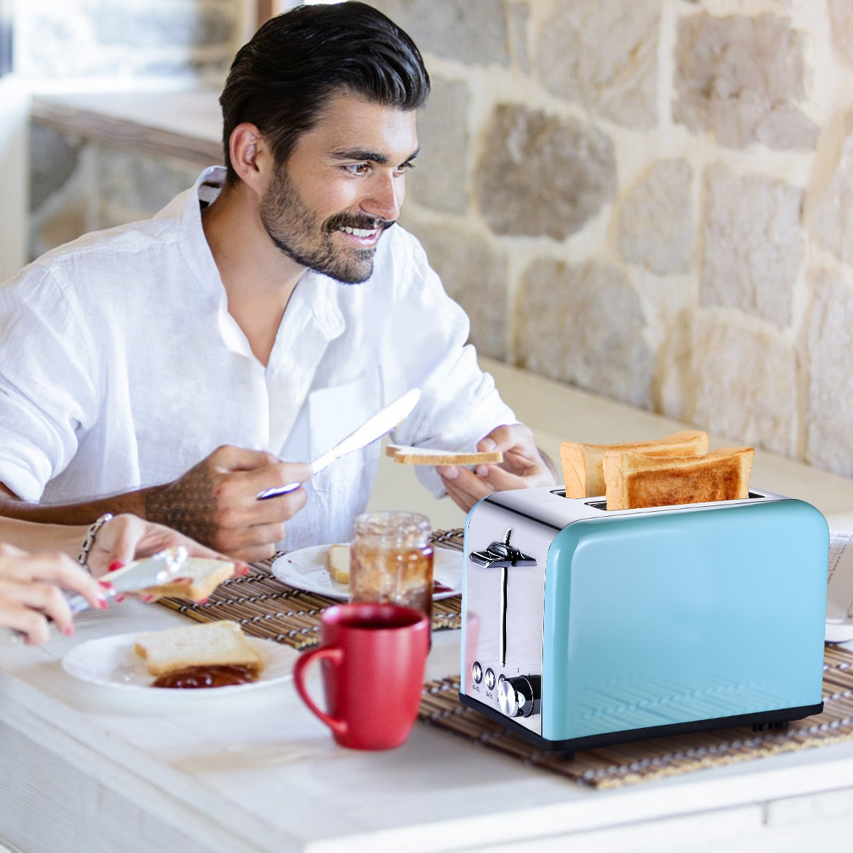 Toaster 2 Slice, Retro Small Toaster with Bagel, Cancel, Defrost Function, Extra Wide Slot Compact Stainless Steel Toasters for Bread Waffles, Blue by Keemo (Image #7)