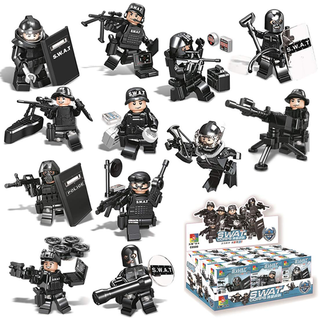 LoKauf 12St. Mini Figuren Set SWAT Team Armee Soldaten Minifiguren Set Adventskalender Inhalt fü r Kinder