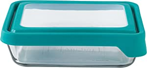 Anchor Hocking TrueSeal Glass Food Storage Container with Lid, Teal, 6 Cup