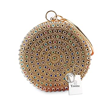 Yoome YooHY104-Multicoloured Gold - Cartera de mano de lona para mujer beige Multicoloured Gold