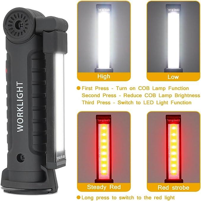 Imperméable 20w USB Rechargeable Led Cob Fin Mécanique Lampe de Travail Véhicule
