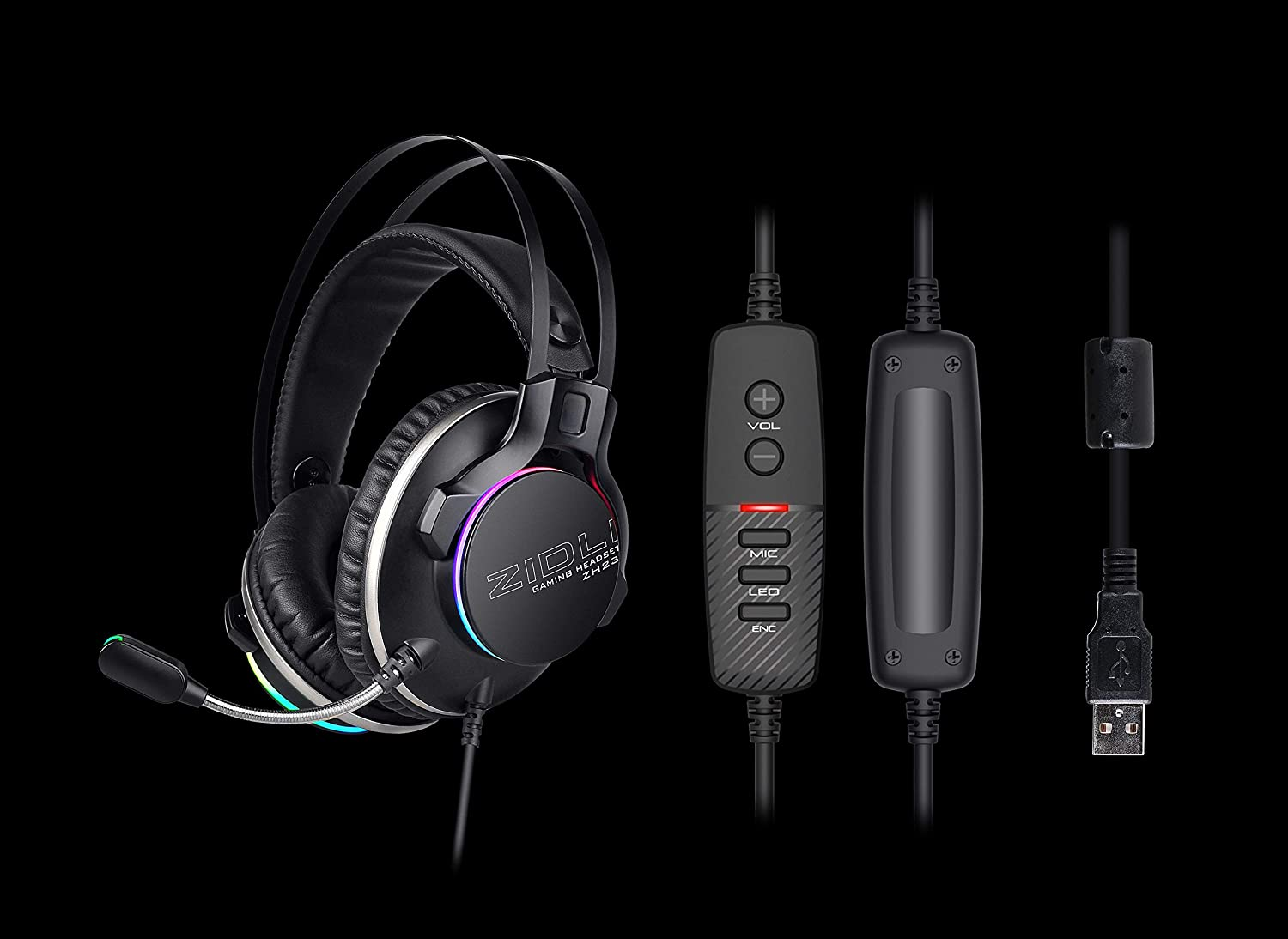 Latest RGB Seven Color Lighting Gaming Headset ZIDLI ZH23 7.1 Surround Sound Stereo with Control Panel for PS4, PC, MacBook, iMac, Swich with Mic LED,Noise Cancelling MIc