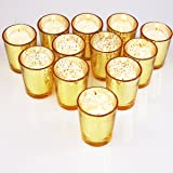 YYCH Classy Votive Candle Holders Set of 12 - Made Of Mercury Glass With A Speckled Gold Finish - Perfect To Add A Unique Atmosphere To Every Home And Wedding Decor