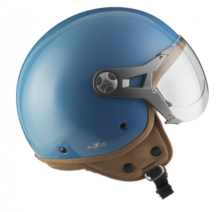 SOXON SP-325-URBAN Green /· Vespa Mofa Moto Cruiser Vintage Bobber Casco Demi-Jet Biker Piloto Retro Chopper Urban Urbano Motard Scooter /· ECE certificato /· design in pelle /· compresi visiera /· compresi Sacchetto portacasc