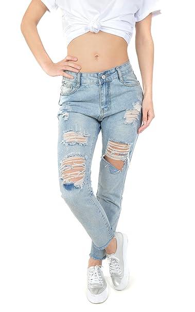9668c15caba9 Freshlions Damen Jeans Boyfriend Style - Bequeme Sommer Hose mit Cut Out im  Destroyed Look (