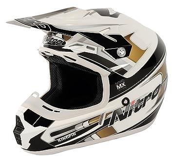 Nitro 108899M18 MX600 KINGPIN Casco Moto, Color Blanco y Negro, Talla M