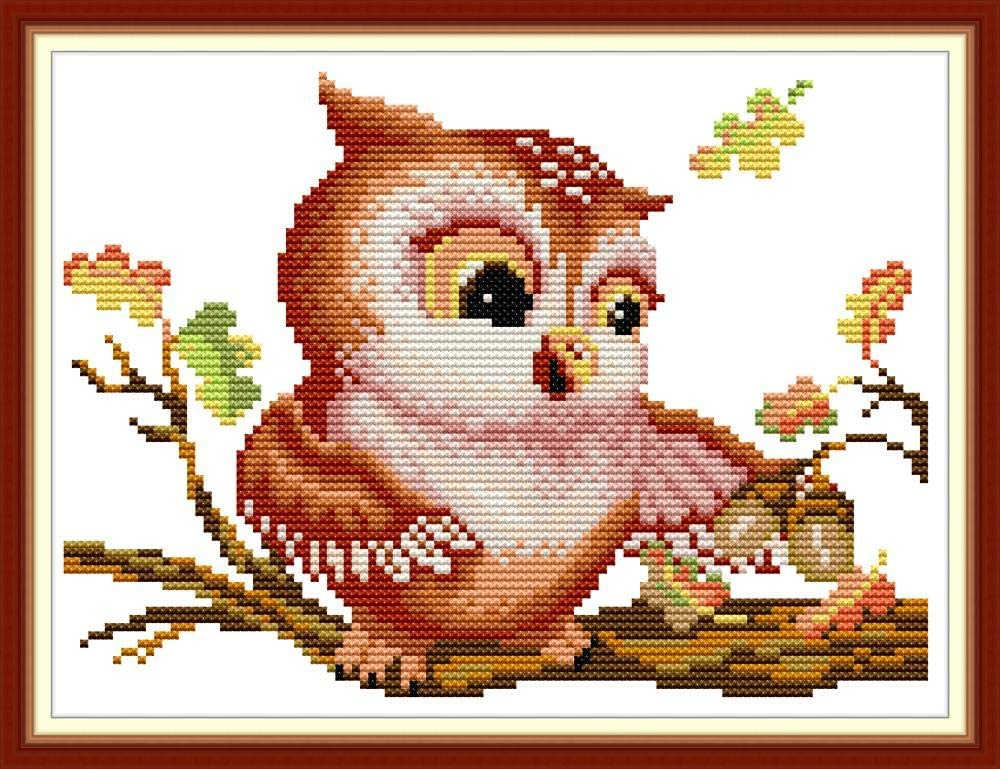 Maydear Cross Stitch Kits Stamped Full Range of Embroidery Starter Kits for Beginners DIY 11CT 3 Strands Hibernate Deer 9.1/×9.1 inch