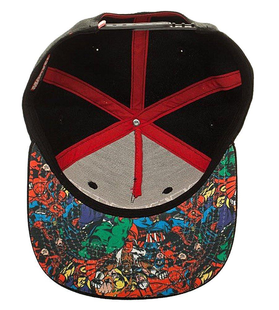 7f2f48b2ac1 Amazon.com  Bioworld Marvel Comic Logo Sublimated Bill Snapback Cap Hat  Black  Clothing